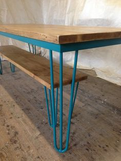 Hairpin Leg Reclaimed Pine Table and Bench Industrial Vintage Handmade table