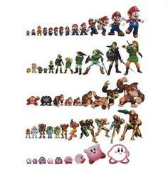 The evolution of video game characters. It's always nice to see how a design of a character varies from game to game. Nintendo Characters, Video Game Characters, Evolution Of Video Games, Mundo Dos Games, 8 Bits, Nerd Love, Video Game Art, Cultura Pop, Super Smash Bros