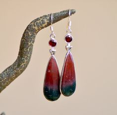 OOOOH!!!  Bloodstone (the other March birthstone) and  Garnet Earrings. SUNSET EARRINGS. by RaindropsJewelry, $74.00