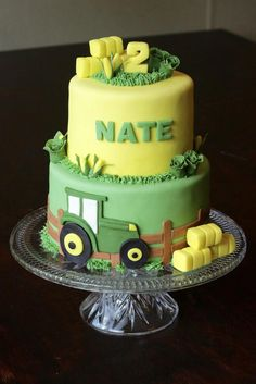 2nd Birthday Cake Boy, Tractor Birthday Cakes, Honeycomb Cake, Blackberry Cake, Farm Cake, Marshmallow Fondant, Cakes For Boys, Party Cakes, Cake Designs