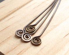 10 antiqued brass spiral swirl head pins 2 20g brass