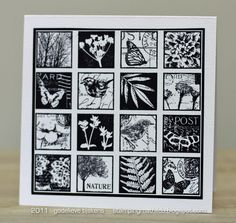 Very quick and easy black & white card sampler/collage. Stamped with Darkroom Door Garden Inchies - Rubber Stamps (Cling Foam Included). Square punched stamped images edged with black marker. Adhere to white cardstock layered on black cardstock layered on white card.
