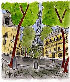 Down the street from Eiffel original painting by Fifi Flowers (this could be in a Madeline book!)