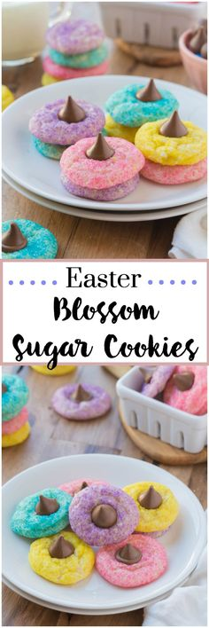Easter Blossom Sugar Cookies ~ Soft, chewy cookies, topped with a chocolate candy. What cookie could be better than that? These cookies are a delicious treat and perfect for Easter. Cookies Soft, Sugar Cookies, Kiss Cookies, Unicorn Cookies, Easter Eggs, Hoppy Easter, Easter Drink, Easter Food, Easter Stuff