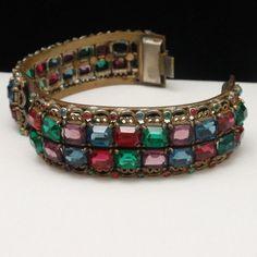 Multi-Color Open-Back Stones Hinged Bangle Bracelet Vintage  #Unbranded #Bangle