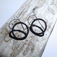 Hammered Antiqued Copper Hoop Drop Earrings - UK Free Post £14.90