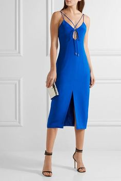 Cushnie et Ochs - Courtney Cutout Silk-crepe Dress - Royal blue - US