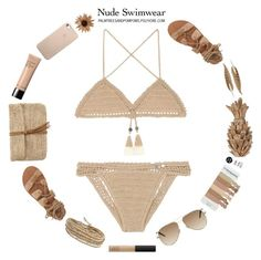 """Bare It All: Nude Swimwear"" by palmtreesandpompoms ❤ liked on Polyvore featuring SHE MADE ME, Billabong, NARS Cosmetics, Hat Attack, Yves Saint Laurent, Bobbi Brown Cosmetics, Chan Luu and Roberto Cavalli"