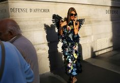 Street Style: Paris Fashion Week Spring 2015 – Vogue - Erdem dress and Undercover wings (=)