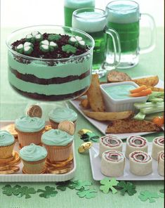 add alittle Green food coloring to dips, pudding, cupcake icing, light colored beer, anything! Great St. Patty's Day idea, maybe use macha powder to keep it natural?
