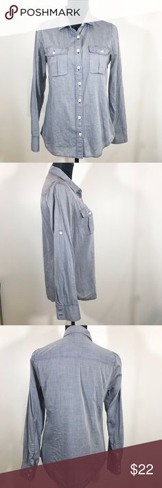 J Crew The Perfect Shirt Chambray Wardrobe staple & classic shirt.   100% cotton   Length 25.5 inches  Armpit to Armpit 14 inches J. Crew Tops Button Down Shirts
