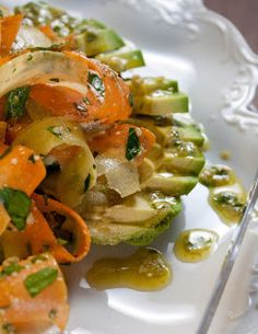Fat and Happy: Raw Carrot and Avocado Salad with Lemon, Garlic and Sunflower Seed Dressing