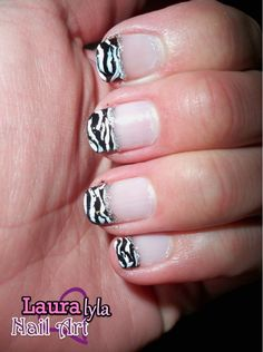 Zebra French Tip   Lauralyla Nail Art http://www.youtube.com/user/lauralyla?feature=mhee