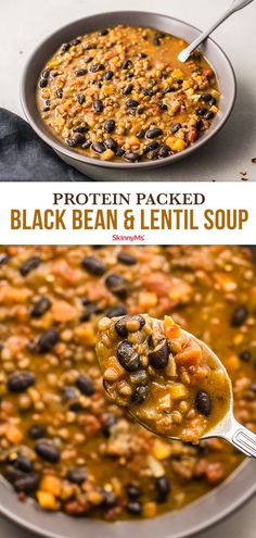 Youll love this protein-packed black bean and lentil soup. I