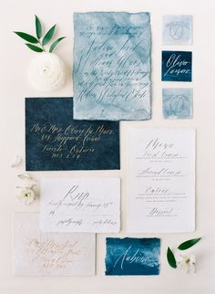 Calligraphy & Watercolour Wedding Stationery // Photography ~ Artiese…
