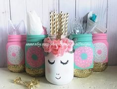 Giggling unicorn and donut themed birthday party mason jar