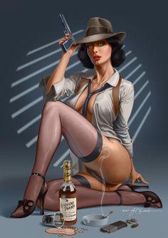 Noir by NigelHendrickson -- for more comic girls & women art, visit my board http://pinterest.com/davidos193/retro-comic-girls/