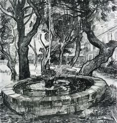 Fountain in the Garden of Saint-Paul Hospital, 1889 by Vincent van Gogh on Curiator, the world's biggest collaborative art collection. Van Gogh Drawings, Van Gogh Paintings, Ink Pen Drawings, Vincent Van Gogh, Paul Vincent, Desenhos Van Gogh, Van Gogh Arte, Van Gogh Landscapes, Ouvrages D'art