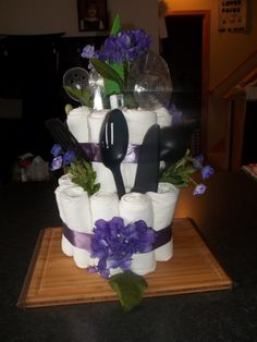 A Towel Cake I made for a friends wedding shower.  I was inspired by a pin on here!