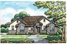 Elevation of Traditional   House Plan 66667