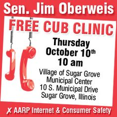 Senator Oberweis is hosting a Free CUB Clinic on Thursday, October 10 at 10:00am in the Village of Sugar Grove Municipal Center!