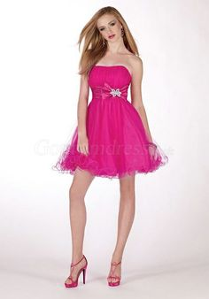 Tulle A-line pleated Empire Ruffles short Prom Dress picture 1