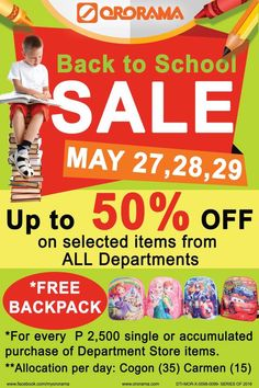 It's the first day of Back to School SALE. So after your work, head straight to Ororama and shop as much as you want with BIG DISCOUNTS on all departments! Back To School Sales, Department Store, Summer Sale, Day, Health, Shop, Health Care, Store, Salud