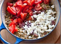Greek Lentil Salad...The oils from the olives give it a nice dressing. I like to add a little green onion too.