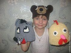 Купить Шапки детские Зверушки - комбинированный, шапки, шапка вязаная, шапка детская, шапка с ушками