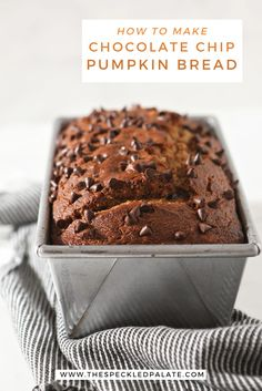 Chocolate Chip Pumpkin Bread makes a tasty fall breakfast OR dessert! This dairy free pumpkin bread recipe is full of pumpkin flavor and studded with dark chocolate chips. #easyentertaining #brunch #speckledpalate Dairy Free Chocolate Chips, Pumpkin Chocolate Chip Bread, Pumpkin Waffles, Chocolate Chip Oatmeal, Pumpkin Bread, Savory Pumpkin Recipes, Baked Chips, Best Breakfast Recipes, Fall Breakfast