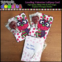 """Our Love Bug Valentine Lollipop Card includes a super cute 2 sided card that measures 4"""" x 3""""Prints 4 cards per sheet of paper.Directions: Print front side then flip over and print back side. Cut out the 4 cards. Slice the spots for the lollipop and insert lollipop :)Cards come in JPEG format.Original Artwork by Scrappin DoodlesScrappin DoodlesKey Words: love bug, cards, valentine, valentine's day, valentines day, kids, stick kids, stick people, hearts, clip art, clipart, card making…"""
