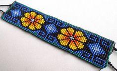 Mexican Huichol Loom Beaded Peyote Flower Bracelet by Aramara Bead Loom Patterns, Peyote Patterns, Bracelet Patterns, Beading Patterns, Beading Tutorials, Peyote Beading, Art Du Fil, Bead Crochet Rope, Bracelets