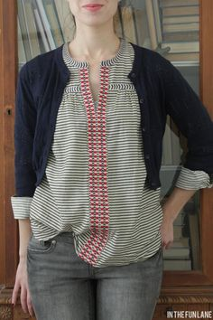 top from JCrew but Inspsiration for how some little adding of braided trim can give a whole different look