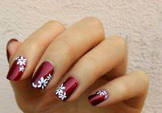 Bordeaux nails with white flowers.||Theme bordeaux colours|| Sns Nails, Stiletto Nails, Manicures, Fingernail Designs, Nails 2018, Flower Nails, Nail Inspo, White Flowers, Beauty Hacks