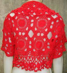 Bolero handwoven cotton crochet with rustic. by ruecavellon