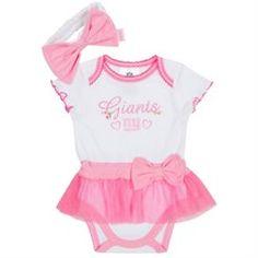 New York Giants Newborn Girls Pink Skirted Creeper and Headband Set