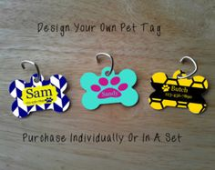 Personalized Bone Shaped Pet Tag With Your Pet's Name. Include Phone Number If You Want. Choose Your Design And Colors