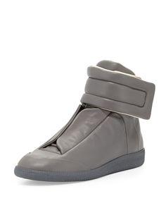 Maison Margiela Future Leather High-Top Sneaker, Gray