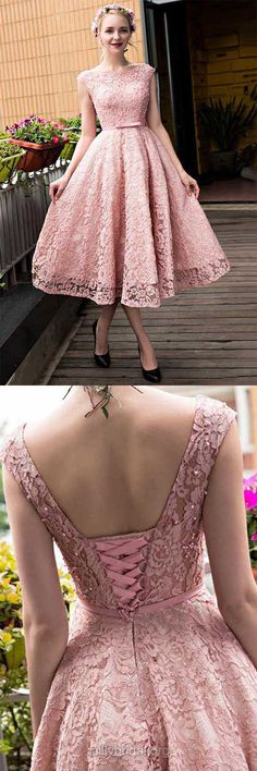 Pink Homecoming Dresses, A-line Graduation Dresses, Scoop Neck Lace Party Gowns,Tea-length Sashes / Ribbons Cocktail Dresses,Lace-up Sweet Prom Dresses