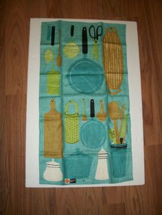 Vintage Vera Turquoise Kitchen Dish Cloth Towel