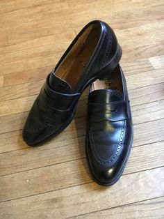 0bec60e4a3b Peal Co Black Perforated Penny Loafer US 9.5D Brooks Brothers  fashion   clothing