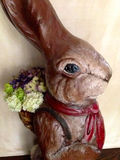 Vintage Easter Rabbit 2ft tall papier Mache red bow by PaperBabies, $275.00