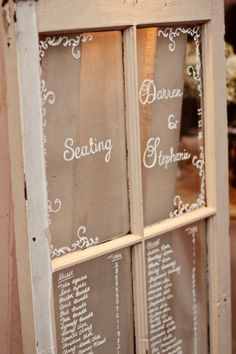Old Window Seating Chart . too cute Linds! Wouldn't have to be used for a seating chart. Wedding Signs, Our Wedding, Dream Wedding, Wedding Reception, Wedding Window, Wedding Dreams, Wedding Table, Wedding Stuff, Seating Chart Wedding