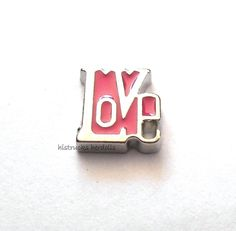 1 pc Pink LOVE  Alloy Floating Charm for Memory Glass Lockets  LT1
