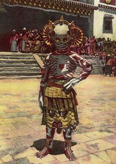 1925 photo of a Tibetan skeleton dancer - Boing Boing