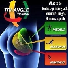 Butt Building Exercises: Medius: Jumping Jacks, Maximus: Lunges, Minimus: Squats