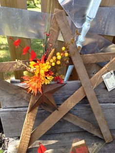 Tobacco stick star, rustic fall decor by crafts by martine