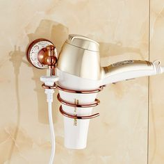 Rose Gold Wall Mounted Hair Dryer Holder