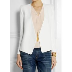 Crisp White Blazer...cute Vintage Solid Color Long Sleeves Slit Blazer For Women