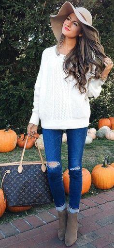 #fall #trending #street #outfits | White + Denim